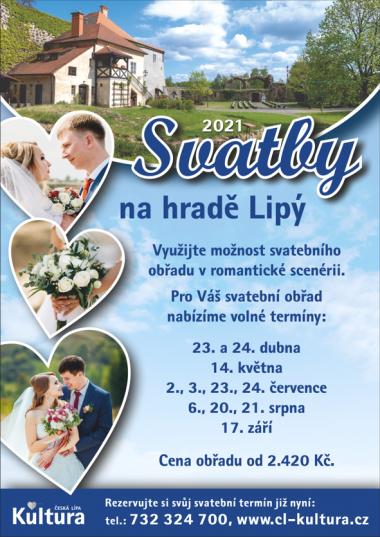 Volné termíny pro svatby na hradě Lipý